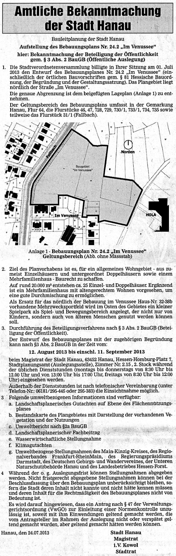 Amtliche Bekanntmachung vom 24.07.2013